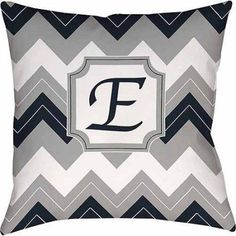 Thumbprintz Chevron Monogram Decorative Pillow, Blue