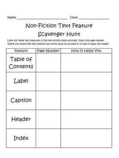 Non-fiction text feature scavenger hunt for free... Perfect for the book detective center!