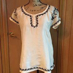 Joie silk top Jodie embroidered silk top Joie Tops Blouses