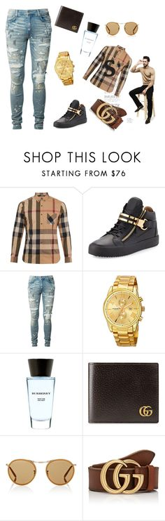 """After Noon"" by rashan-holmes on Polyvore featuring Burberry, Giuseppe Zanotti, AMIRI, Akribos XXIV, Gucci, Oliver Peoples, Palm Beach Jewelry, men's fashion and menswear"