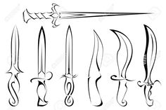 27324389-Set-of-silhouettes-of-knife-tattoo-Stock-Vector.jpg (1300×866)