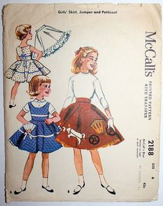 Vintage Girls Skirt Jumper and Petticoat Sewing Pattern McCalls 2188 Size 4 1950s Complete with Transfers. $15.00, via Etsy.