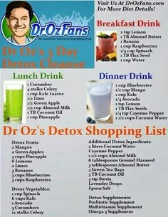 Dr. Oz shopping list and drinks