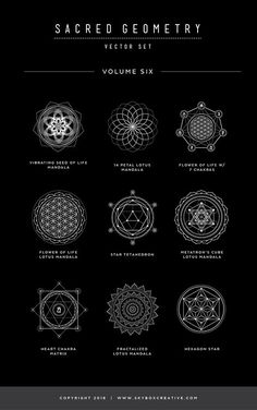 Sacred Geometry Vector Set Vol. 6 comes with 9 NEW completely unique handcrafted design elements! With new dotted line, circle patterns and sanskrit chakra elements, these symbols are unlike any other product out there. Always finding. Sacred Geometry Symbols, Sacred Geometry Tattoo, Magic Symbols, Ancient Symbols, Alchemy Symbols, Spiritual Symbols, Natur Tattoo Arm, Sanskrit Tattoo, Sanskrit Symbols
