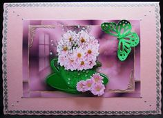 Pink Chrysanthnum in a Teacup on Craftsuprint designed by Vicki Avcin - made by Yvonne Middleton - Printed on glossy photo paper, i cut out all of the elements and decoupaged using foam pads, i then mounted the image onto the card using dst and added a silver peel off border.This is a beautiful design. - Now available for download!