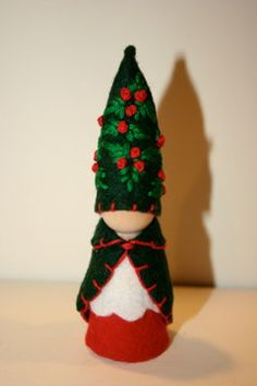 Holly berry Christmas felt gnome Waldorf inspired flower fairy elf nature table play doll