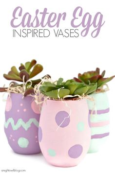 Make these adorable and inexpensive Easter Egg Inspired Vases. Kimberly, from a Night Owl Blog shows us how!! #decoartprojects