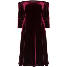 Manon Baptiste Bordeaux-Red Plus Size Off the shoulder velvet dress ($190) ❤ liked on Polyvore featuring dresses, plus size, red skater skirt, purple dress, red dress, purple velvet dress and red fitted dress