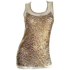 Preowned Gianfranco Ferre Vintage 90s Gold / Bronze Sequin Semi Sheer... ($525) ❤ liked on Polyvore featuring tops, blouses, multiple, sequin top, sequin bustier, bustier tops, vintage blouses and sexy tops