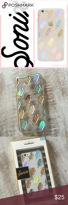 🎄Sonix Popsicle Clear Coat Case/iPhone 6, 6+ NWT, Present perfect! This iPhone case by Sonix features iridescent Popsicles on a clear background and shock absorbent rubber sides.  The iPhone 6 case was a customer return to a major dept store, has a couple of minor dots or chips in the Popsicles but really looks new in the package. The iPhone 6+ case is brand new, dept store closeout.🚫no trades/lowball offers please. Sonix Accessories Phone Cases