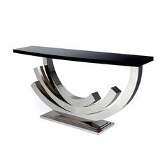 GRAND CONTEMPORARY polished nickel console tables | TAYLOR LLORENTE FURNITURE