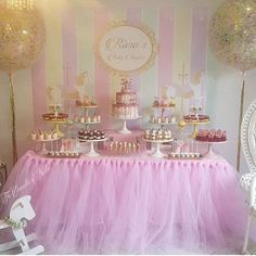 Pretty event! Love the tulle table cover & glittered balloons! By…