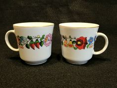 Kalocsa Hungary Demitasse Cups Flower Floral Porcelain