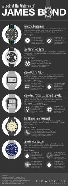 Infographic: The Watches of James Bond Sponsore Ad Sponsore Ad Infografik: Die Uhren von James Bond – GeekTyrant Estilo James Bond, James Bond Style, James Bond Theme, James Bond Cars, Montre James Bond, James Bond Watch, James Bond Gadgets, Cool Watches, Watches For Men