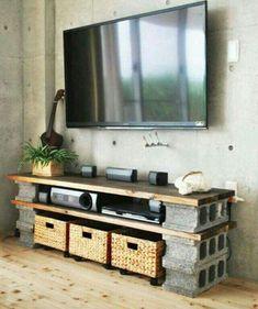 DIY Cinder block entertainment center