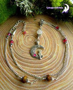 ~ Sortilège Nocturne ~ Collier quartz rose, chat sur lune , perles bohème, bois et miyuki