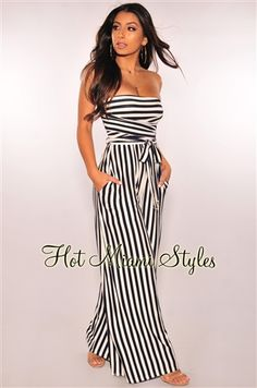Take on this navy and white striped jumpsuit for a chic and comfy look. Features side pockets, a detachable sash belt and wide palazzo legs. White Palazzo Pants, Palazzo Jumpsuit, Jumpsuit Dressy, Striped Jumpsuit, Jumper Shorts Outfit, Elegant Cocktail Dress, Nautical Dress, Off Shoulder Jumpsuit, Wedding Jumpsuit