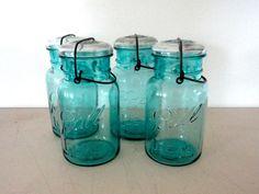 Blue Ball Glass Mason Jar Aqua Canning Jar with Clear by KimBuilt, $10.00