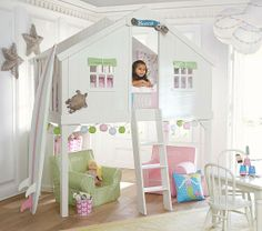 Tree House Bed | Pottery Barn Kids. How cute would this be for a little girl's room! I'm not sure if most ceilings are that high though.