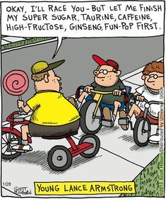 Young Lance Armstrong. The Argyle Sweater on GoComics.com #humor #comics #sports…