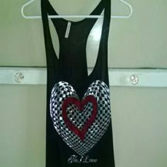 Heart tank top Light and flows. Sheer with a sequin heart. Worn twice Tops Tank Tops