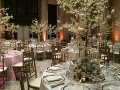 A wonderland of blooming trees for an elegant dinner reception at the Asian Art Museum.