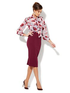 Stunning office combo with NY&Co's Eva Mendes Collection's Isabelle Floral Bow Blouse and Kristina Pencil Skirt.