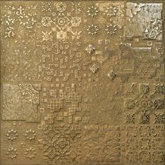 Cerâmica dourada com textura, também em prateada e bronze, da Apavisa