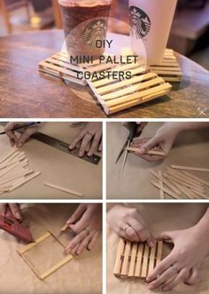 Cute diy crafts to sell easy and cheap crafts to make and sell Mini Pallet Coasters, Diy Coasters, Homemade Coasters, Rustic Coasters, Coaster Crafts, Craft Stick Crafts, Fun Crafts, Diy And Crafts, Crafts To Make And Sell Easy