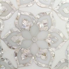 Gorgeous! Aurora with White Thassos Royal White and Pearl Glass and Marble Tile at http://TileBar.com