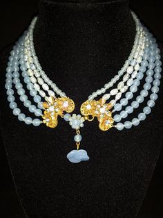 Vintage Miriam Haskell Necklace Signed Pate De Verre Glass Beads Russian Gold Gilt Wedding Blue STATEMENT NECKLACE RARE