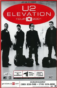 Concert poster for U2 and PJ Harvey at The Pepsi Center in Denver, CO. 11x17 card stock