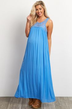 feae1dfd18e Sky Blue Lace Top Linen Maternity Maxi Dress