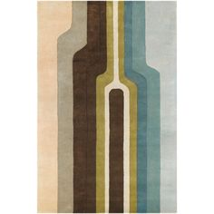 Works well with existing wall color and robot theme Faro Retro Surfboard Wool Rug