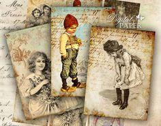 Art Ephemera  digital collage sheet  set of 6  by bydigitalpaper, $4.35