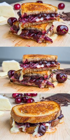 Balsamic Roasted Cherry, Dark Chocolate and Brie Grilled Cheese Sandwich! One of The Most amazing grilled cheeses ever....