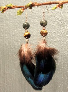 Shimmering peacock feather earrings