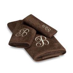 Avanti Premier Ivory Script Monogram on Mocha Hand Towel - BedBathandBeyond.com