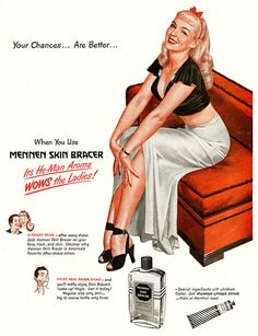 Mingo painted a number of ladies for Mennen products before he became famous for Mad magazine. This ad was for Mennen Skin Bracer and appeared in the Saturday Evening Post in March Vintage Pins, Retro Vintage, Vintage Magazine, Magazine Ads, Old Advertisements, Retro Ads, Old Ads, Pin Up Art, Print Ads
