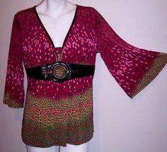 Bisou Top L Pink Stretch Knit Boho Embellished Empire Waist Babydoll Tunic Shirt #BISOUBISOU #KnitTop #Casual