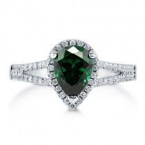 Pear CZ Simulated Emerald Silver Halo Ring With Split Shank 1.13 Ct