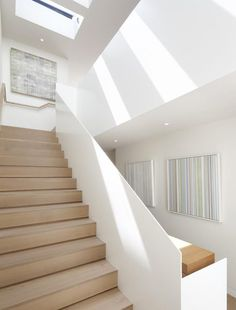 John Maniscalco Architecture produces work based on two principles - creating livable, modern spaces and engaging clients in the design process. Contemporary Stairs, Modern Stairs, Home Stairs Design, Interior Stairs, Staircase Railings, Stairways, Round Stairs, White Stairs, Stair Makeover
