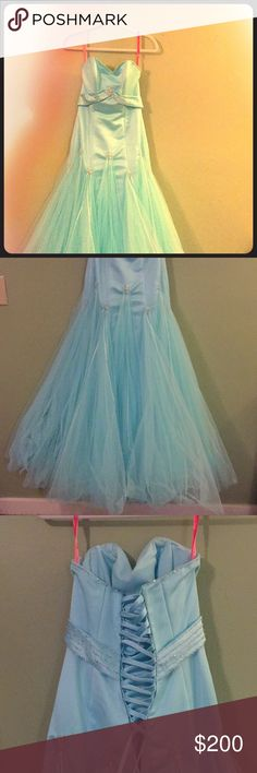 Flirt by Maggie Sottero Princess Gown Baby Blue gown with dainty details! My favorite formal dress of all time! Worn once, perfect condition! Flirt by Maggie Sottero Dresses Prom
