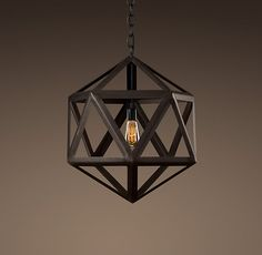 "STEEL POLYHEDRON SMALL PENDANT  $350  Classic triangular forms create the beautiful symmetry of our openwork pendant. Constructed of sturdy steel in an industrial finish with an aged patina.    A metal sleeve, finished to match the frame, covers the porcelain socket  6' black cloth-covered wire  Requires one 60W max. bulb  Hardwired  Wipe with dry, soft cloth  DIMENSIONS  21½"" diam., 21½""H  Weight: approx. 9 lbs."