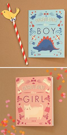 Free Printable 'Congratulations it's a boy/girl' Card! www.lovevsdesign.com