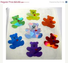 ON SALE Vintage Sandylion Rainbow Heart Bears Prism Stickers 80's Prismatic