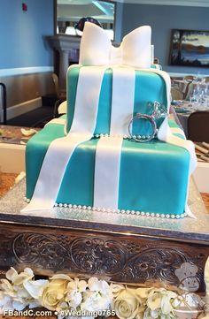 "Design W 0765 | Fondant Wedding Cake | 10""+ 6"" | Serves 65 | Tiffany Blue Fondant Cover, White Fondant Bow & Ribbon, Pearl Bead Trim, Ring Topper | Custom Quote"