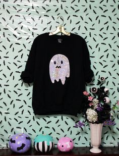 Holographic Uneasy Ghost Spoopy Halloween by magiccircleclothing Halloween Items, Halloween Fashion, Halloween Outfits, Fall Outfits, Cute Outfits, Halloween Clothes, Halloween Designs, Halloween Town, Happy Halloween