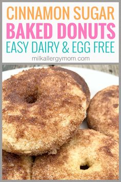 Easy dairy and egg free baked cinnamon sugar donuts. Milk Allergy Mom Egg Free, Dairy Free Eggs, Dairy Free Baking, Vegan Baking, Milk Allergy, Cinnamon Sugar Donuts, Baked Donuts, Recipe For Mom, Food Allergies