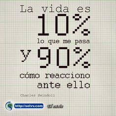 La vida es 10% lo que me pasa y 90% cómo reacciono ante ello. Charles Swindoll. http://selvv.com/el-estres/  #Selvv